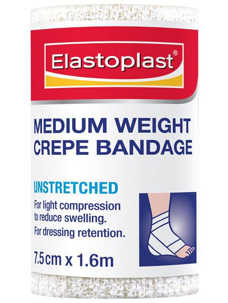 Elastoplast Medium Weight Crepe Bandage Unstretched 7.5cm x 1.6m
