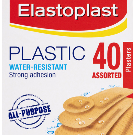 Elastoplast Plastic Water-Resistant Plasters Assorted 40 Pack