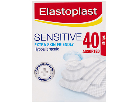 Elastoplast Sensitive Extra Skin Friendly Assorted Strips 40 Pack
