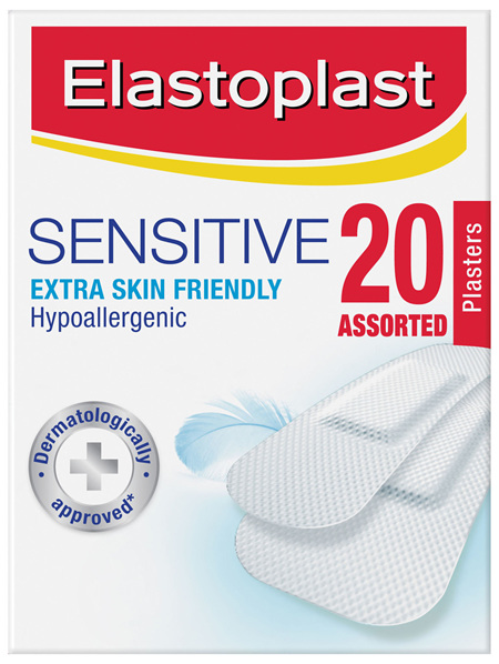 Elastoplast Sensitive Extra Skin Friendly Hypoallergenic Plasters Assorted 20 Strips