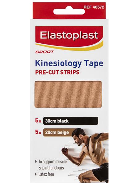 Elastoplast Sport - Kinesiology Tape Pre-Cut Strips (5x30cm black, 5x20cm beige)