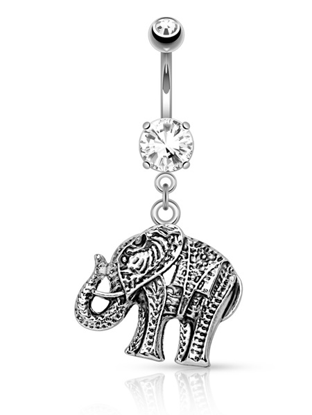 Elephant Dangle Navel Bar