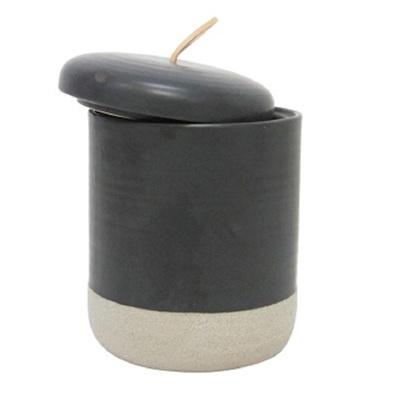 Elle Ceramic Jar W Leather Tab - Black - Large