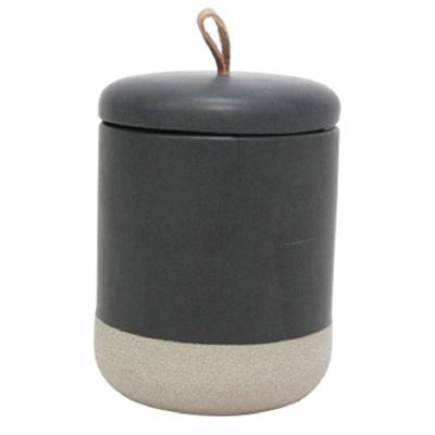 Elle Ceramic Jar W Leather Tab - Black - Medium