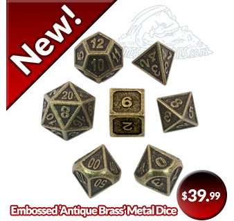 Embossed Antique Brass Metal Polyhedral Dice