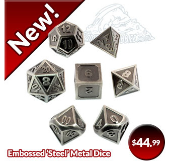 Embossed Steel Bronze Metal Polyhedral Dice