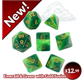 Emerald and Green Fusion Polyhedral Dice