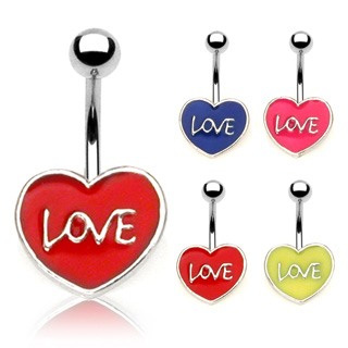 "Enamel Heart with ""Love"" Navel Ring"