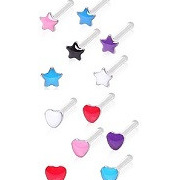 Epoxy Star Nose Stud - Hearts also Available