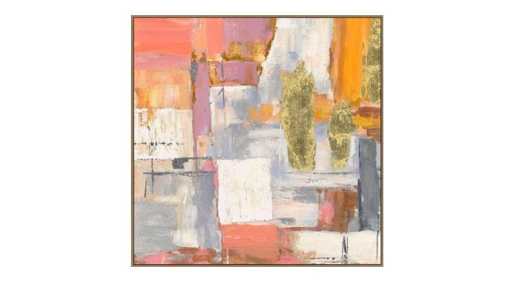 Estella Canvas Print W Foil - Oak Look Frame - 100x100cm