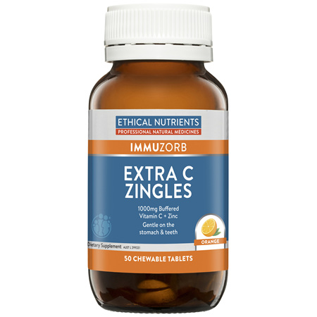 Ethical Nutrients IMMUZORB Extra C Zingles Orange 50 Chewable Tablets