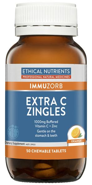 Ethical Nutrients IMMUZORB Extra C Zingles Orange 50 Chewable Tablets