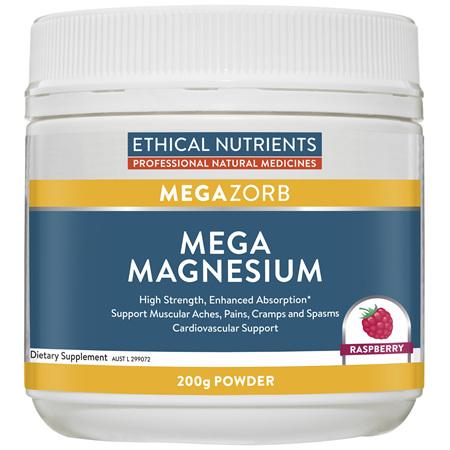 ETHICAL NUTRIENTS Mega Magnesium Powder Raspberry 200g