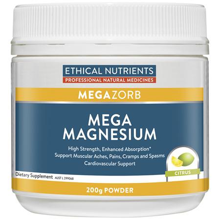 ETHICAL NUTRIENTS Mega Magnesium Powdrr Citrus 200g