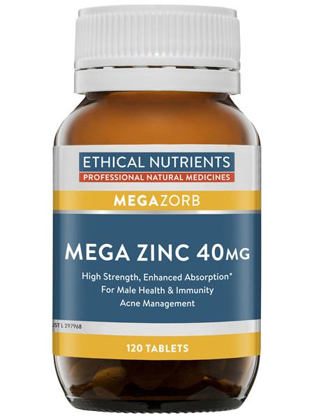 Ethical Nutrients Mega Zinc 40mg 120 Tablets