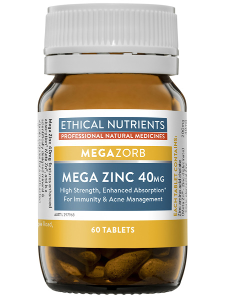 Ethical Nutrients Mega Zinc 40mg 60 Tablets