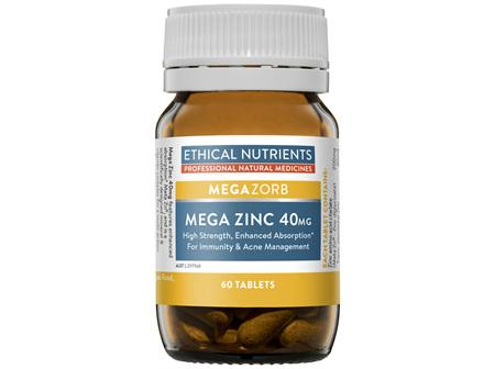 Ethical Nutrients Mega Zinc 40mg 60 Tablets