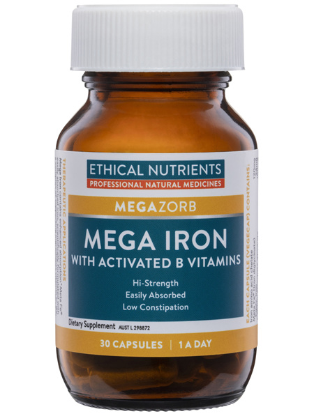 Ethical Nutrients MEGAZORB Mega Iron with Activated B Vitamins 30 Capsules