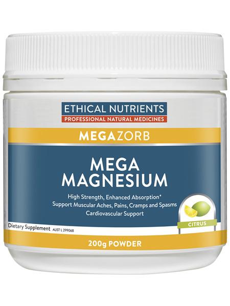 Ethical Nutrients MEGAZORB Mega Magnesium Citrus 200g Powder