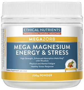 Ethical Nutrients MEGAZORB Mega Magnesium Energy & Stress Tropical 230g Powder
