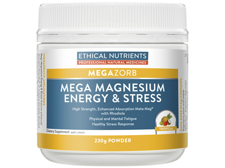 Ethical Nutrients MEGAZORB Mega Magnesium Energy & Stress Tropical 230g Powder