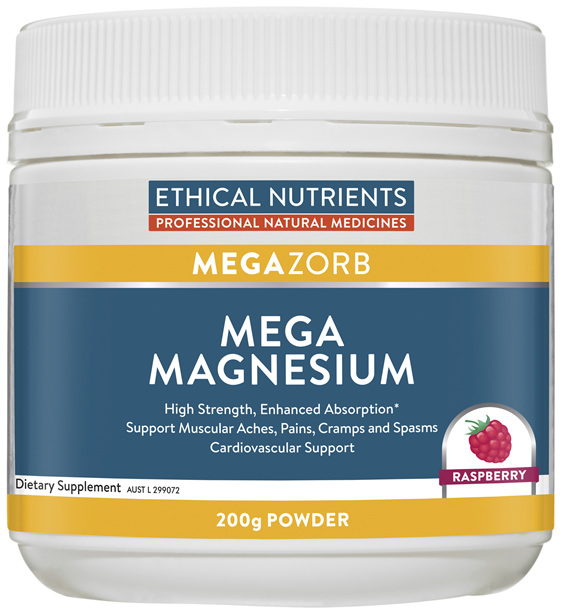 Ethical Nutrients MEGAZORB Mega Magnesium Raspberry 200g Powder