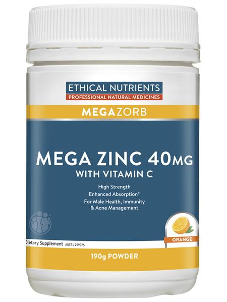 Ethical Nutrients MEGAZORB Mega Zinc 40mg with Vitamin C Orange 190g Powder