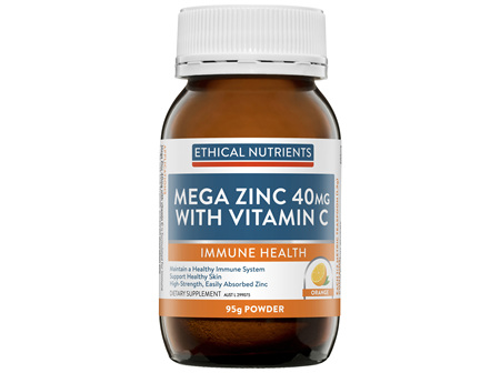 Ethical Nutrients MEGAZORB Mega Zinc 40mg with Vitamin C Powder Orange 95g Powder
