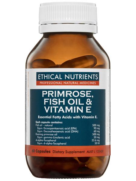 Ethical Nutrients Primrose, Fish Oil & Vitamin E 60 Capsules