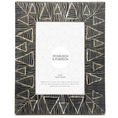 Ethnic Bone Frame - Black 4x6
