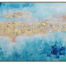 Eva Canvas w/ Gold Foil & Oak Look Frame - 120 x 80cm