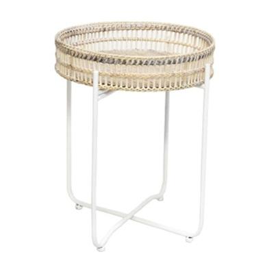 Exton Rattan Tray Side Table - Antique White M