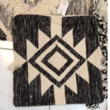 Faas Wool Cushion Black & Cream 40x60cm