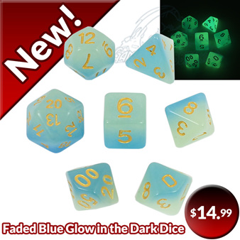 Faded Blue with Gold Glow in the Dark Dice Games and Hobbies New Zealand NZ