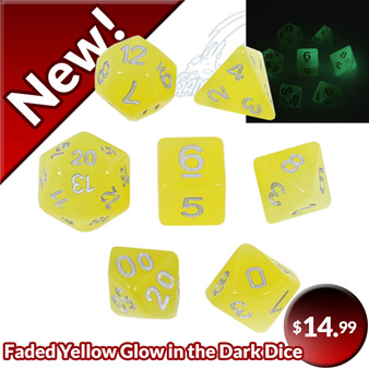Faded Yellow Glow in the Dark Dice Games and Hobbies New Zealand NZ