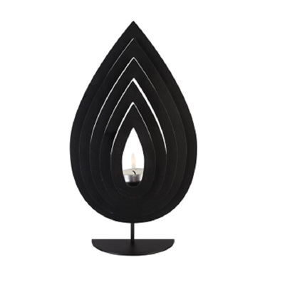 Fanned Teardrop C/Holder Black Metal - Large