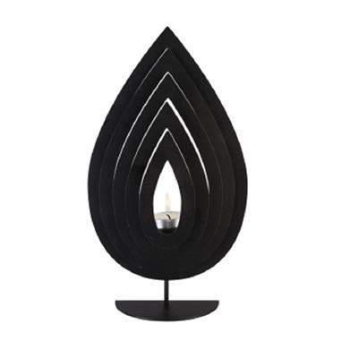 Fanned Teardrop Candle Holder Black - Large