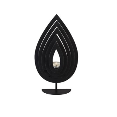 Fanned Teardrop Candle Holder - Black - Small