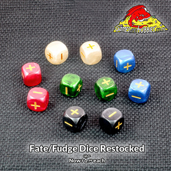 Fate Fudge Dice back in stock