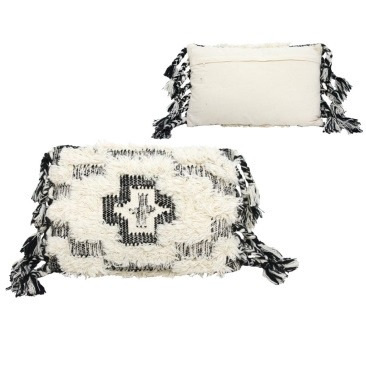 Fatir Wool Cushion - Black And Cream 40x60cm