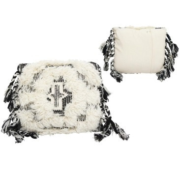Fatir Wool Cushion - Black And Cream 45x45cm