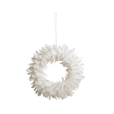 Feather Wreath White with Gold Tips - Small