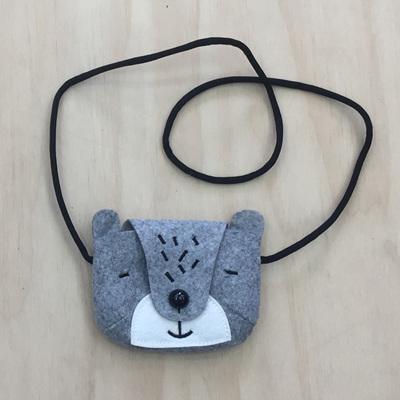 Felt Animal Children's Bag - Grey Bear