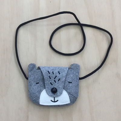 Felt Animal Children's Bag - Grey Bear
