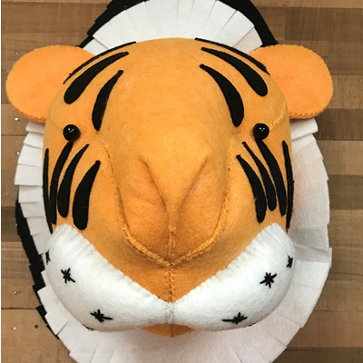 Felt Animal Wall Mount - Tiger