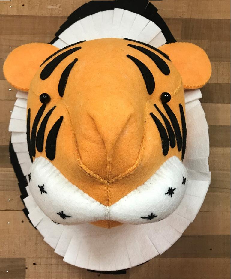 Felt Animal Wall Mount - Tiger