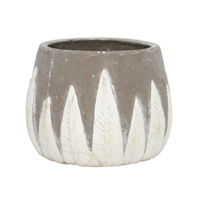 Fern Planter - Grey/White Squat
