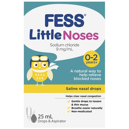 FESS Little Noses 0-2 Years+ Saline Nasal Drops + Aspirator 25mL
