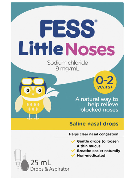 FESS Little Noses 0-2 Years+ Saline Nasal Drops + Aspirator 25mL