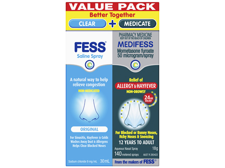 FESS Saline Spray and MEDIFESS Aqueous Nasal Spray Value Pack 2 Pack